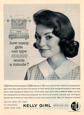 Kelly Girl Typing Ad